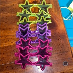 star sunglasses small green pink purple glitter